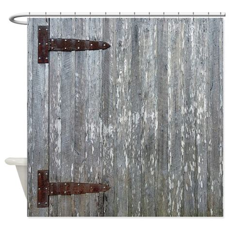 Rustic Barn Door Hinges Rustic Barn Door With Metal Hinges Shower Curtain By Rebeccakorpita