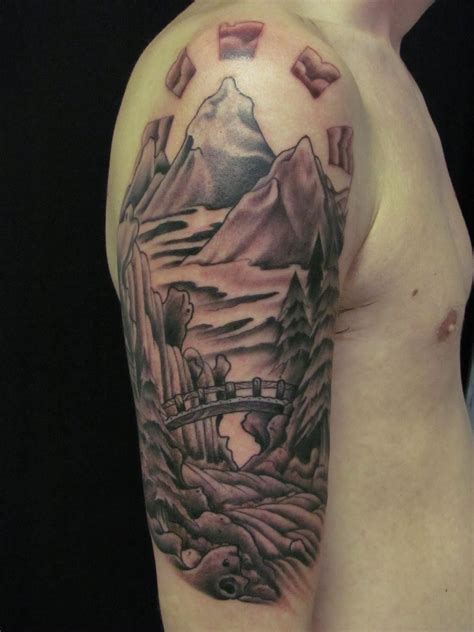 japanese mountain tattoo designs tattooed landscape fresh ideas