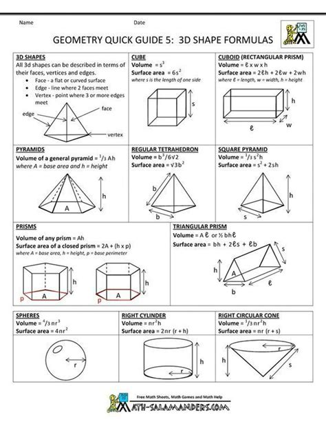 printable area formulas 37 best volume surface area images on pinterest