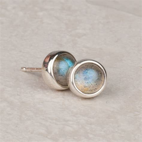 Handmade Stud Earrings - handmade labradorite gemstone stud earrings by alison
