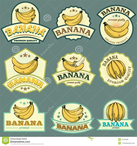 Stiker Sticker Sign Label Anodized Sign Deco Stiker banana labels stock vector image 41125590