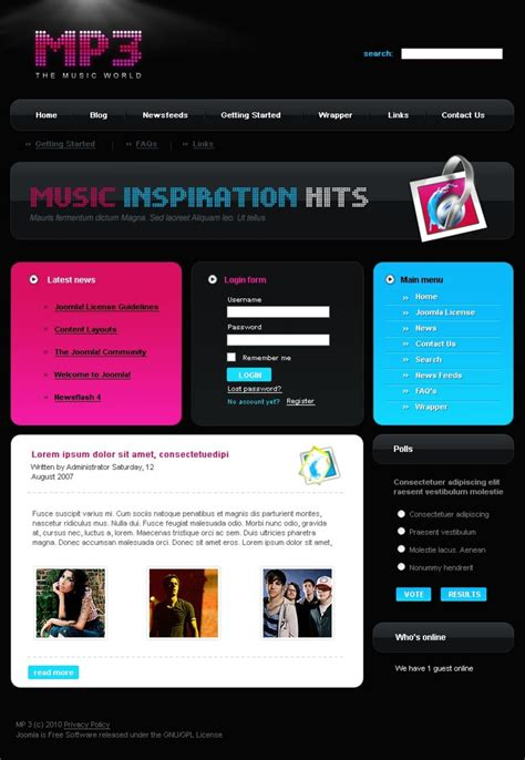 joomla shop template free mp3 store joomla template 28305