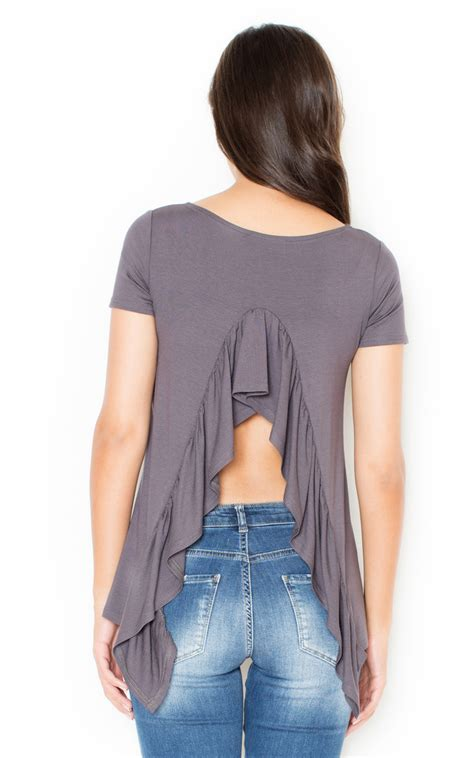 5563 90 000 Blouse Sale 50 grey frill back blouse silkfred
