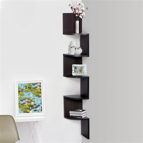 finether 5 tier zig zag floating wall corner shelf unit