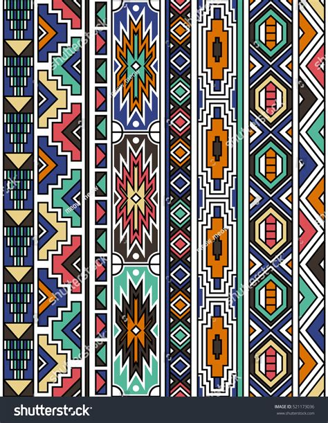 set traditional african ndebele patterns vector stock retro colors tribal vector seamless ndebele stock vector