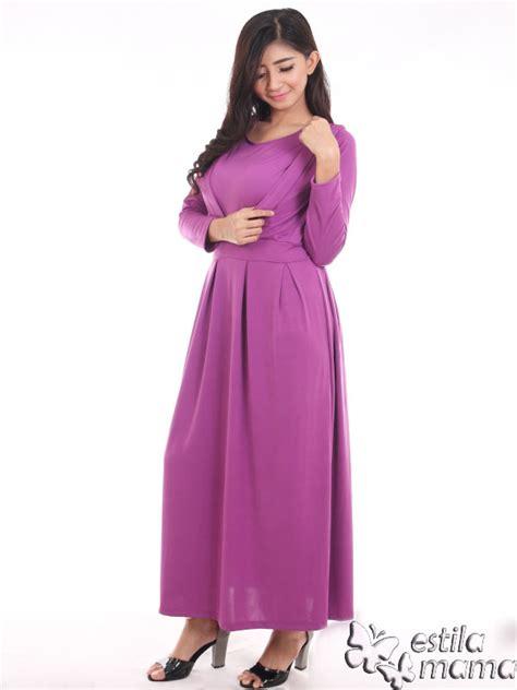 Dress Garis Line Ungu Muda Purple Spandek vinetta gamis menyusui spandex ungu estila