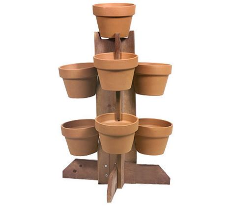 Wooden Plant Pot wooden plant stand w 7 terra cotta pots qvc