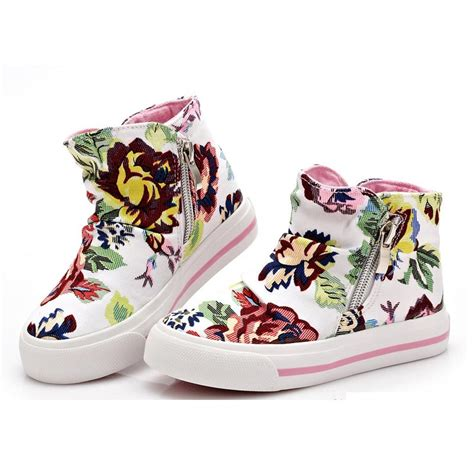 flower print sneakers new 2016 children canvas shoes for flower print