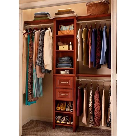 closetmaid closet kit closetmaid impressions 16 in w dark cherry narrow closet