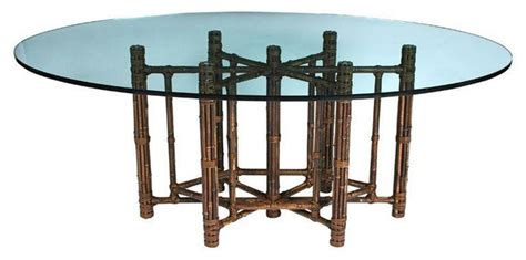 oval glass top bamboo dining table 6 800 est retail