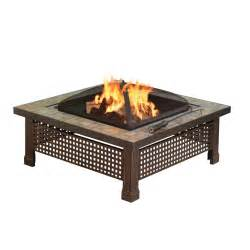 Fire Pit Bowl Home Depot - amazon com pleasant hearth bradford square natural slate 34 inch fire pit with copper accents