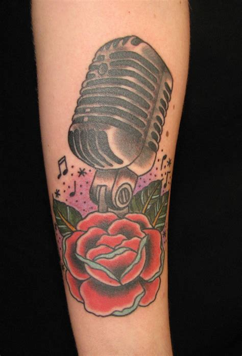 microphone flower tattoo traditional sara purr tattoo page 20