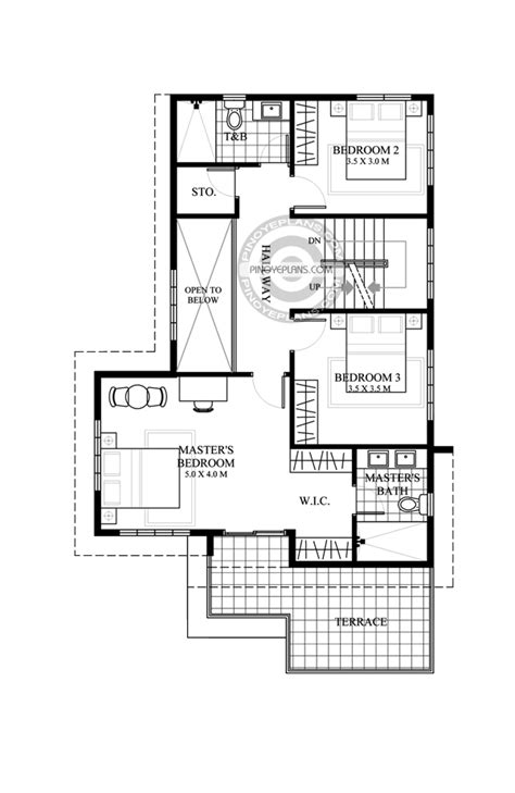 Juliet, 2 Story House with Roof Deck   Pinoy ePlans