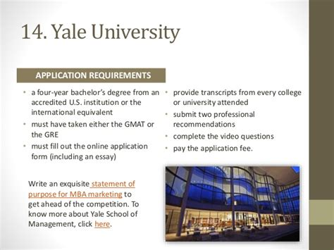Yale Mba Requirements by 20 Top Mba Schools