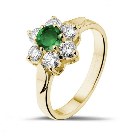 yellow gold engagement rings flower ring in
