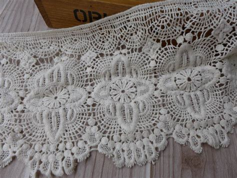 pattern of vintage crochet lace in an ecru color wide cotton lace trim vintage beige crochet lace scalloped