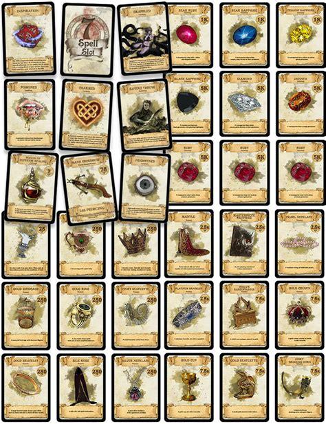 printable d d dice d d cards equipment treasure condition inspiration