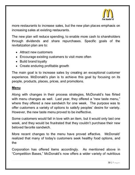 sle restaurant business proposal mcdonalds marketing strategies