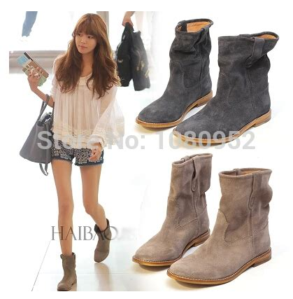 Sepatu Disland Boots Zipper Brown 2015 fall ankle boot top quality flat boots