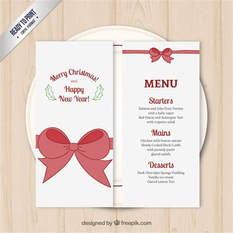 christmas menu template vector free download