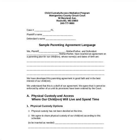 california parenting plan template child custody agreement template maryland templates