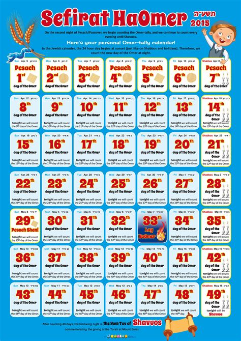 Calendar Days Counter My Omer Counting Calendar Jewnior Club