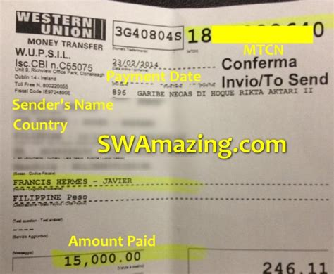 Pay Via Western Union Onenegosyo Com Swamazing Western Union Receipt Template