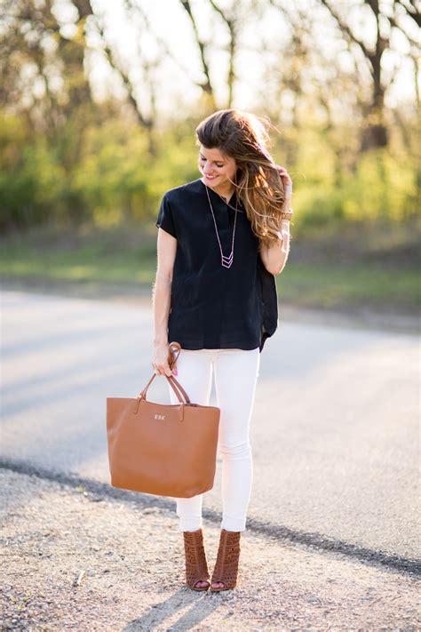 black shirt brown shoes chic summer white