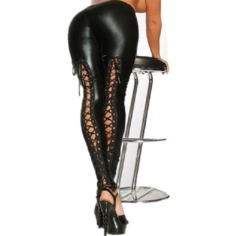 aliexpress leggings 2016 sexy lace up stretch material pencil pants new women