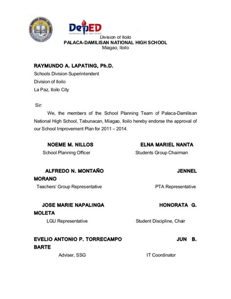 Endorsement Letter To Transfer Pdnhs School Improvement Plan Sy 2011 2014 0014 C