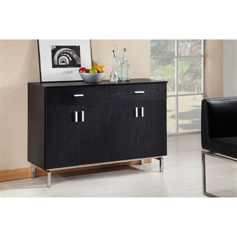 Furniture Of America Mason Black Finish Buffet Dining Server Black Modern Buffet