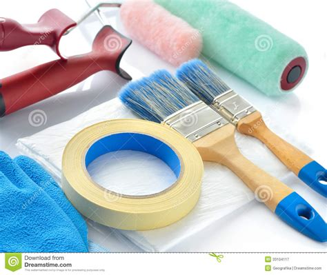 Home Painting Design Tool | painting tools on white background royalty free stock