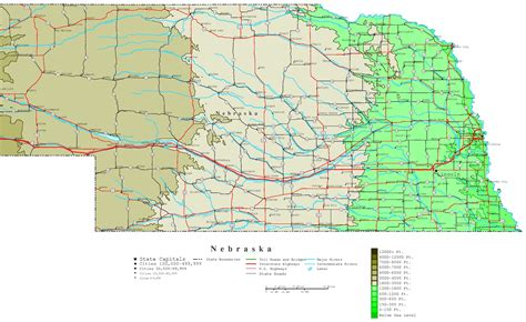 maps for nebraska contour map