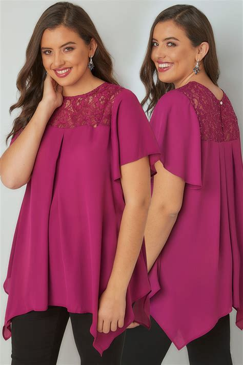Sm Blouse Bugsize Wash Biru Blouse Size Wash Biru magenta pink blouse with lace sequin yoke plus size 16 to 32