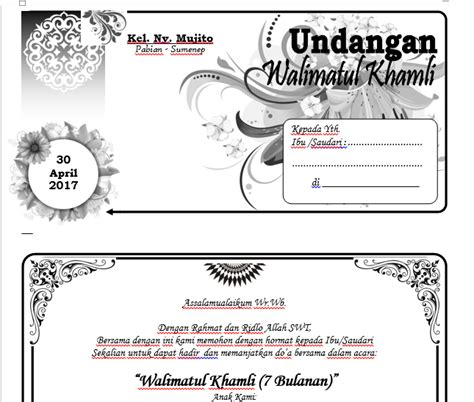 membuat undangan tujuh bulanan cari aja semua disini contoh undangan walimatul khamli 7