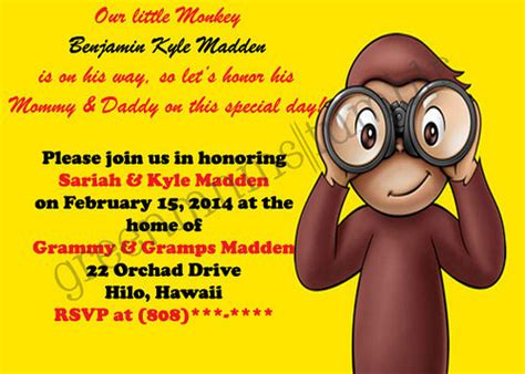 Curious George Baby Shower Invitations by Curious George Baby Shower Invitation Flickr Photo
