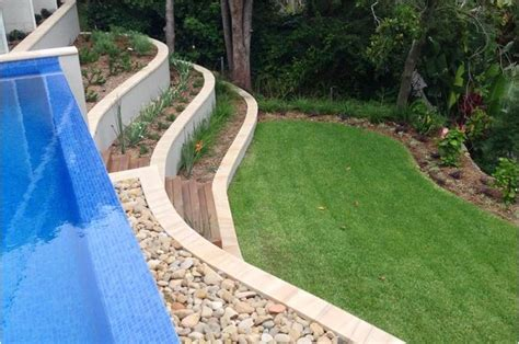 swimming pool retaining wall steep slope palm beach landscaping a steep block with swimming