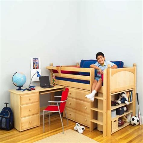 boys loft bed with desk boy s storage bed with desk by maxtrix kids natural wood