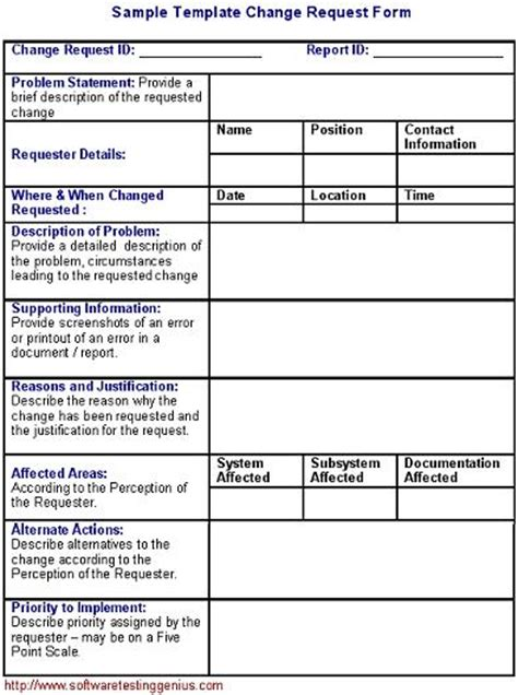 software change request form   sample template
