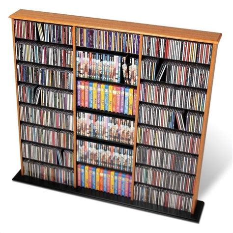 dvd storage tower 51 quot triple cd dvd wall media storage tower in oak and