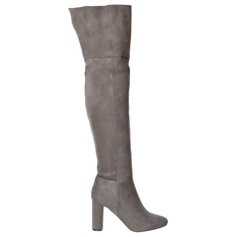 the knee boots black suede shoekandi the knee thigh high heeled boot black