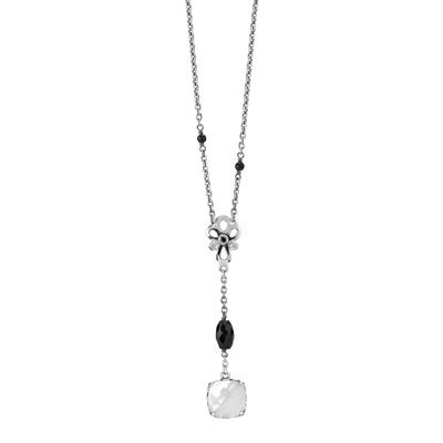 Pandora Clear Cz And Black Onyx Dew Drops Charm Silver P 489 sincerity black onyx of pearl clear black cz 48 cm 18 9 in 590318mp 48