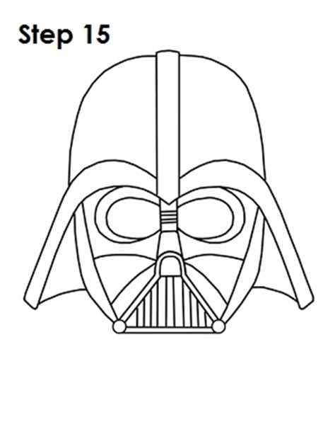 Darth Vader Outline by How To Draw Darth Vader Helmet Sketch Coloring Page