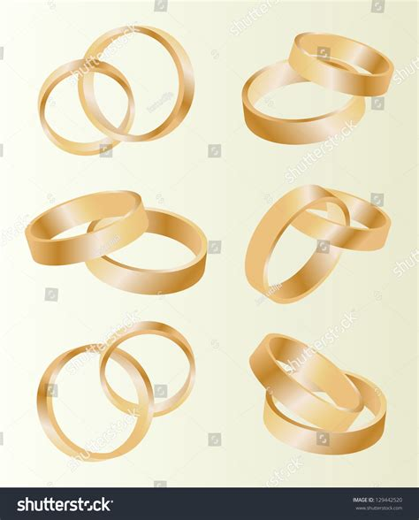 Wedding Background Set by Gold Wedding Rings Vector Background Set Stock Vector