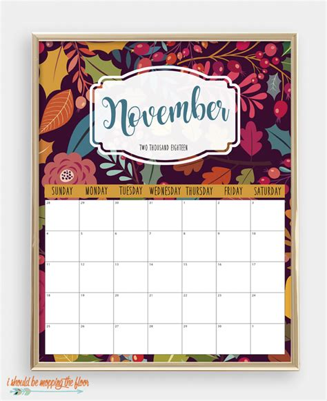 colorful printable calendar mopping