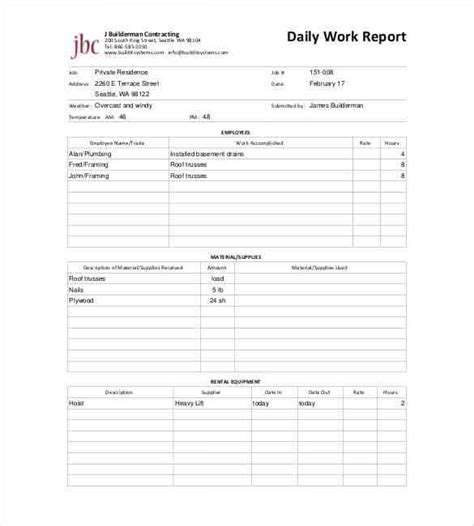 work report template word daily report templates 8 free sles excel word