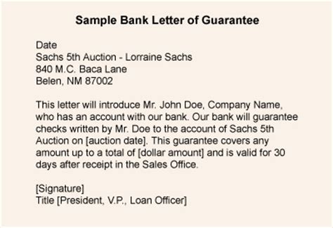 Guarantee Letter For Payment Sle Bank Payment Guarantee Letter Sle