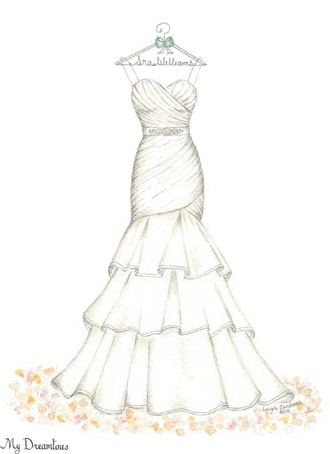 Brautkleider Zeichnen by Dreamlines Wedding Dress Sketch Oneyearanniversarygift