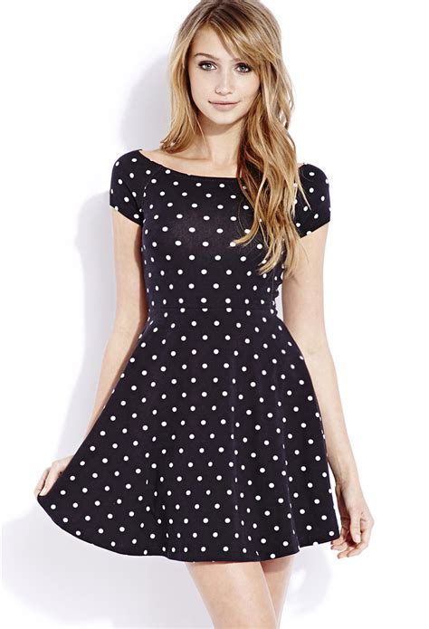 Black Big Dot Dress 20651 lyst forever 21 retro dots skater dress in black