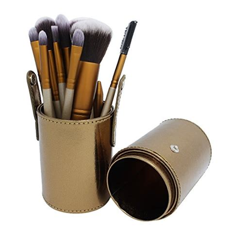 12pcs Cylinder Makeup Brush by Brush Sets Naimo 12pcs Golden Cylinder Makeup Brushes Set